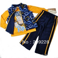 2014New hot brand Autumn and winter Cute maga+ T-shirts + pants 3pcs suit baby wear sport underwear free shipping