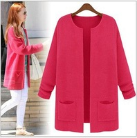 East Knitting SW-00 2013 New Women's Sweater Medium Long Oversize Sweater Ladies' Cardigan Sweater Knitwear Tops Candy colors