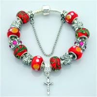 New Arrival 925 Silver Bracelet, European Cross Charm Bracelets For Women Or Men,With Murano Glass Bead,PA027