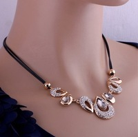 1 pcs Free Shipping Water Drop Rhinestone Double Leather Necklace Factory Direct Wholesale K188