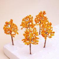 Free Shipping Model Tree Train Orange Flowers Set Scenery Landscape OO HO - 10PCS