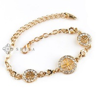 2013 New Rhinestone Bracelet for Girls (1Pcs/lot)Gold Plated Chain Link Bracelet Friendship Gift