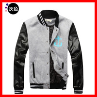 2013     Men's   PU  Sleeve  Thin  Cotton  Baseball  Jacket  G1744
