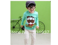 100%cotton boy long-sleeve t shirt children's clothing shirt autumn2013 kid's clothes2T,3T,4T,5T,6T,7T,8Tfree shipping