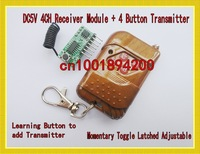 DC5V 4CH Radio Remote Control Receiver Module + Transmitter Learning Code Momentary Toggle Latched Adustable 315/433MHZ