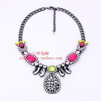 Accessories fashion accessories gem flower necklace short female