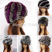 100% Real Rabbit Fur Otter Skin Weave Woven Knit Interlace Striated Headdress Hat Cap