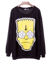 EAST KNITTING XL-559 fashion 2014 new style sweatshirts cartoon Simpson head print hoodies Galaxy tops Black plus size pullovers