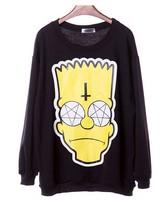 EAST KNITTING XL-559 fashion 2014 new style sweatshirts cartoon Simpson head print hoodies tops Black plus size pullovers
