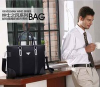 2013 men's fashion business bag 100% genuine leather and high quality canvas handbag shoulder bag briefcase freeshipping S0088