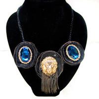 Cloth lion head big gem necklace short design fashion accessories female