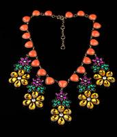 Fashion vintage gem flower necklace short design necklace accessories female