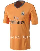 Free Shipping!2013-14 Embroidery Logo Real Madrid away Soccer Jersey,100% Guaranteed Real Madrid 13/14 Orange Football Shirt,Mix