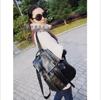 2013 preppy style bag vintage lovers double pocket bag oil leather PU school bag backpack women's handbag