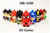 Free shipping Gift 9pcs/lot DC comics Super Heroes USB Flash drive 4GB 8GB 16GB 32GB Memory stick Pen Drive Thumb drives