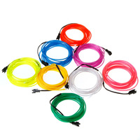 Wholesale 8 colors 3M Flexible EL Wire Rope Tube Light with Controller Lemon/Red/Yellow/Green/White/Blue/Purple/Pink