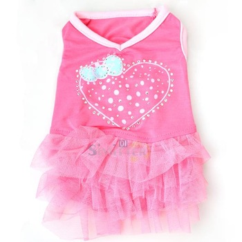 S1M# Cute Net Yarn Cloth One-piece Pet Puppy Dog Bubble Skirt Dress Rose Red XS