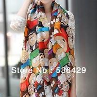 CHEAPEST novel cartoon figure fashion South Park silk scarf woman 's cape velvet chiffon scarf SC0262 Free shipping