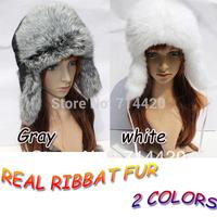 Women Girl Lady Cute Real Rabbit Fur Hat Winter Cap Halloween Christmas Gift