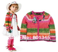 hot sale!Free Shipping,1pcs/lot, children wear,children catim*** brand striped coats design girl's cardigans sweater,mulit color