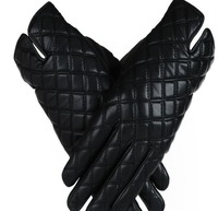 Women's fashion winter leather black gloves with fur Free shipping ML XL 03 32