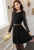 New Fashion Women Tops 2013 Stylish Lady lace Dress long Sleeve Hot selling skirts