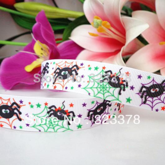 Wholesale Textile belt halloween 22mm rib knitting belt spider printed ribbon gift wrapping tape ribbon child gift packing belt(China (Mainland))