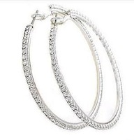 zircon CZ Hoop Earrings silver color big statement earrings for women fashion new jewelry 2013 exaggerated infinity earring