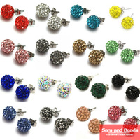 High Quality !!20pcs=10 Pairs/Lot,can mix 28 colors,10mm Disco Crystal Ball Shamballa Earrings Studs, 60+crystals on each ball