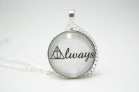 Harry Potter 'Always' Deathly Hallows Symbol Glass Silver Necklace With Chain Glass Cabochon Necklace