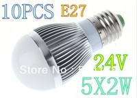 New Globe 24v 5x2W  E14 E27 5leds Light Bulb LED Lamp Spotlight  led globe Freeshipping 10pcs/pack