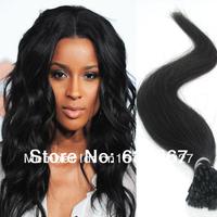 "18"" 20"" 22"" #1 Jet Black Rosa Hair Keratin Virgin Remy Hair Stick I Tip Human Hair Extensions Malaysian Vrgin Hair Straight"