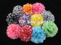 "Hot selling 3.2"" chiffon chevron hair flower with ribbon full coverd clip,hair flower,hair accessories,30pcs/lot free shipping"