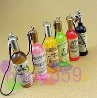 390pcs free ship Fashion wine bottle lover cell phone chain mobile phone pendant strap bag decoration wedding gift supplies