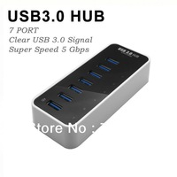 Multiple High Speed USB 3.0 Hubs Splitter Portable USB3.0 HUBS 7 Ports LED Indicator Free Shipping