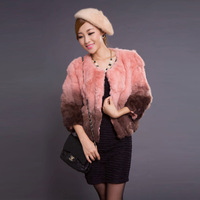 free shipping Gradient color 2013 fur rex rabbit hair short design outerwear female slim  fur coats