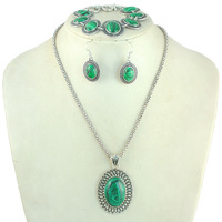 Green Malachite Necklace Bracelet Earring Set Green Jewelry Sets