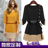 2013 autumn and winter fashion plus size clothing one-piece dress slim waist color block o-neck long-sleeve Dresses Free ship