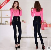 2013 women fashion black high waist feet jeans female slim elasticity single breasted pencil skinny jeans plus size 3XL 4XL
