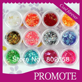 12 Colors Shiny Decoration Glitter Powder Nail Art Tool Kit Acrylic UV Powder Dust Wholesale