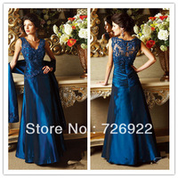 213 New Arrival Long Plus Size Blue  Mother Of The Bride Lace Dresses With Shawl Free Shipping