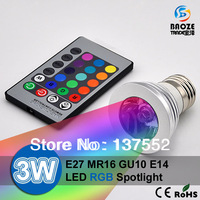 10PCS 85-265V 16 Colors changing RGB LED Lamp 3W 4W E27 E14 GU10 MR16 LED Bulb Spotlight light with Remote Control lighting