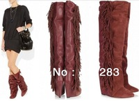 New Arrival Brand Designer Wedge Tassel Boots Weight Increasing Leather Winter Knee High Boots Women