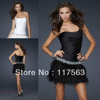 Cute short feather beaded black white pink cocktail dress JW074
