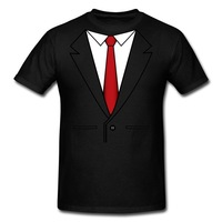 Free Shipping 100% Top Quality Guaranteed! Cheap Sales Business Suit And Red Tie 100% Cotton Men's Scoop 2013 New T-Shirts Black
