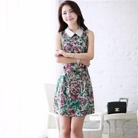 Summer women's 2013 slim turn-down collar sleeveless vest professional women one-piece dress
