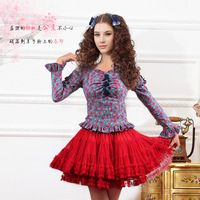 Women's autumn new arrival 2013 gentlewomen denim strapless long-sleeve slim fresh sweet princess top