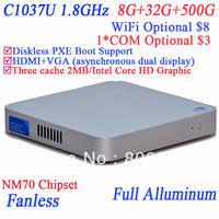 palm-sized PC with COM WIFI optional win.7 Intel Celeron C1037U 1.8GHz 8G RAM 32G SSD 500G HDD for gaming home theater HD bluray