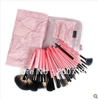 Free shipping high quality professional 22pcs wool and hair fibers makeup brushes set wood handles pink  brushes kits with bag