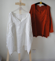 2013 autumn double layer cotton yarn shirt plus size V-neck o-neck shirt pullover batwing sleeve loose shirt white